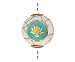 Tibetan White Shell & Brass w/ Lotus on a Turquoise Center Coin Bead 24x22mm