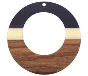 Walnut Wood & Vogue Resin Gypsy Hoop Focal 49mm