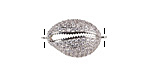 Clear Pave CZ Stainless Steel Cowrie Shell Focal Link 22x13mm