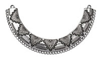 Zola Elements Antique Silver (plated) Scalloped Triangles Focal Link 120x67mm