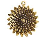 Nunn Design Antique Gold (plated) Large Daisy Pendant 35x39mm