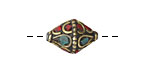 Tibetan Brass Bead w/ Turquoise & Coral Scale Mosaic 15-17x12mm