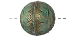 Zola Elements Patina Green Brass (plated) Peacock Feathered Sphere Bead 23mm