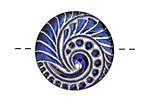 Czech Glass Iridescent Sapphire Lunar Spiral Button 27mm