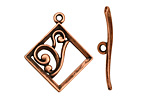 Antique Copper (plated) Diamond w/ Swirls Toggle Clasp 28x24mm, 29mm bar