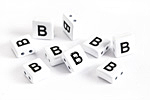 "White Enamel 2-Hole Tile Square Bead w/ Letter ""B"" 8mm"