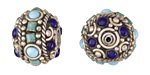 Tibetan White Brass Roped w/ Turquoise & Lapis Dots Rondelle Bead 15x19mm