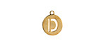 """Gold (plated) Stainless Steel Initial Coin Charm """"D"""" 10x12mm"""