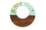 Walnut Wood & Beach Glass w/ Gold Foil Resin Off-Center Hoop Focal 28mm