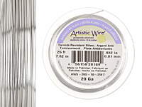 Artistic Wire Tarnish Resistant Silver 20 gauge, 25 feet