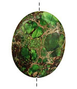 Green Impression Jasper Flat Oval 45x35mm