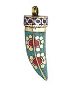 Tibetan Turquoise & Coral Horn w/ Floral Brass Detail & Lapis Trim Pendant 15x47-53mm