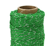 Green & Metallic Silver Hemp Twine 20 lb, 205 ft
