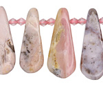 Pink Opal Graduated Flat Teardrop 10-13x30-37mm
