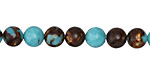 Synthetic Turquoise & Bronzite Round 8mm