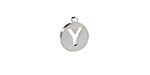 """Stainless Steel Initial Coin Charm """"Y"""" 10x12mm"""