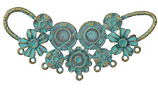 Patina Green Brass (plated) Blooming Swag Focal Component 85x38mm