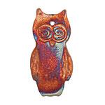 Xaz Raku Stan's Rust Owl Pendant 22x41mm