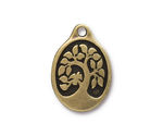 TierraCast Antique Brass (plated) Bird In A Tree Drop 18x26mm