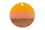 Walnut Wood & Sunrise Resin Banded Coin Focal 28mm