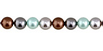 Mint Chocolate Shell Pearl Mix Round 6mm
