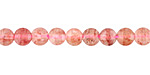 Strawberry Quartz Faceted Puff Coin 6.5mm
