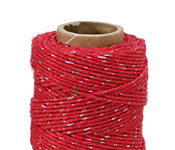 Red & Metallic Silver Hemp Twine 20 lb, 205 ft