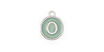 "Sweet Mint Enamel Silver Finish Initial Coin Charm ""O"" 12x14mm"