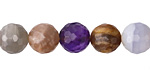 Multi Stone (Moonstone, Chalcedony, Amethyst, Strawberry Quartz) Faceted Round 10mm