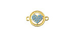 Turquoise Pave CZ 18K Gold (plated) Encircled Heart Focal Link 14x11mm