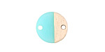 Wood & Sea Green Resin Coin Link Focal 15mm