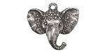Green Girl Pewter Floral Elephant Pendant 30x28mm