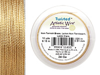 Twisted Artistic Wire Non-Tarnish Brass 24 gauge, 10 yards