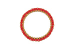 Pepper Red Miyuki Delicas Woven on Gold (plated) Stainless Steel Ring 23mm