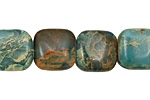 Turquoise Impression Jasper Puff Square 14mm