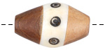 African Batiked Bone & Ebony Wood w/ Carved Circles Rice Bead 30-37x18-23mm