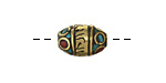 "Tibetan Brass ""Om Mantra"" Rice Bead w/ Coral & Turquoise Mosaic 15x10mm"