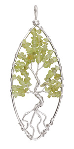 Peridot Silver Finish Wire-Wrapped Tree of Life Pendant 37x91mm