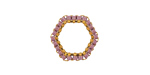 Lavender Miyuki Delicas Woven on Gold (plated) Stainless Steel Hexagon 16mm