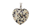 Dalamation Jasper Heart Pendant w/ Silver (plated) Bail 20mm