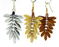 Dagger Fern Earrings Pattern for CzechMates
