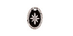 Zola Elements Jet Enamel Antique Silver (plated) Starburst Oval Focal 11x15mm