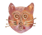 Patricia Healey Copper Large Cat Face 10mm Flat Slide 37mm