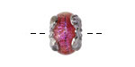Grace Lampwork Passion Pink Shimmer Rondelle 12x16mm