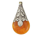 Tibetan White Brass Leaf Motif Resin Amber Drop 29x54mm
