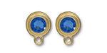 TierraCast Gold (plated) Stepped Bezel Ear Post w/ Sapphire Crystal 12x17mm