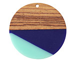 Walnut Wood & Nautical Resin Coin Focal 38mm