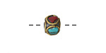 Tibetan Brass Cube Bead w/ Ringed Coral & Turquoise Mosaic 8x10mm