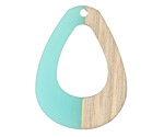 Wood & Sea Green Resin Open Teardrop Focal 28x38mm