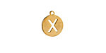 """Gold (plated) Stainless Steel Initial Coin Charm """"X"""" 10x12mm"""
